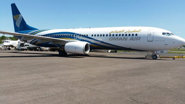 Oman Air. B737-800 leaving after painting at our Bournemouth facility